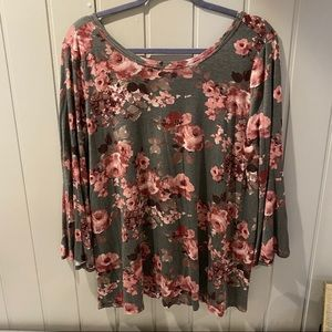 ODDY Womens Olive Green Floral Blouse Cross Back